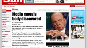 """""""Rupert Murdoch fue encontrado muerto en su jardín"""", publicó LulzSec en una página hackeada de The Sun."""